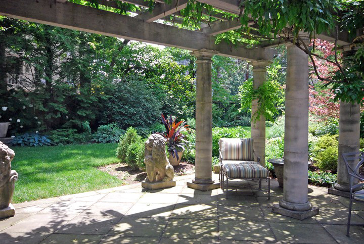 One of our favorite tricks to make a new landscape have a centuries old verdancy is to incorporate statuary we source from all over the world. Also note the columns solid stone…maybe you can rock that!