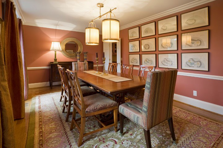 This somewhat narrow Hyde Park dining room was enlivened and visually widened by a collection of very old antique maps found by one of DIGS designers.