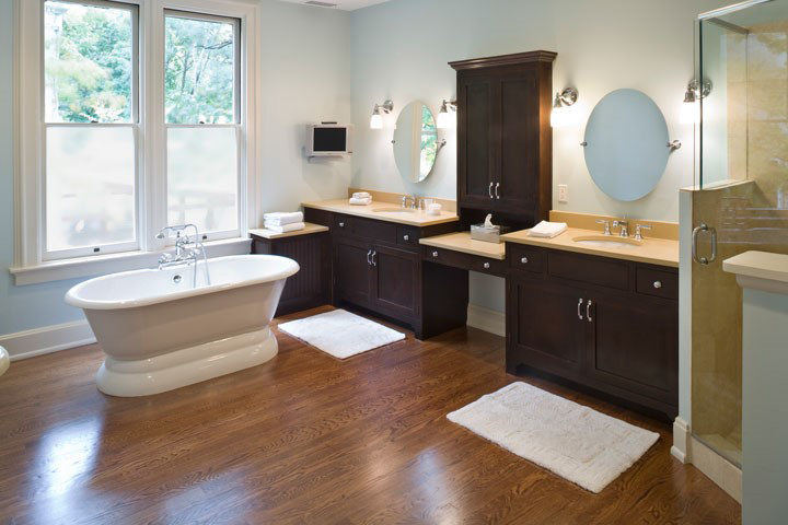There is no reason not to do a hardwood floor in a bathroom - sez us.