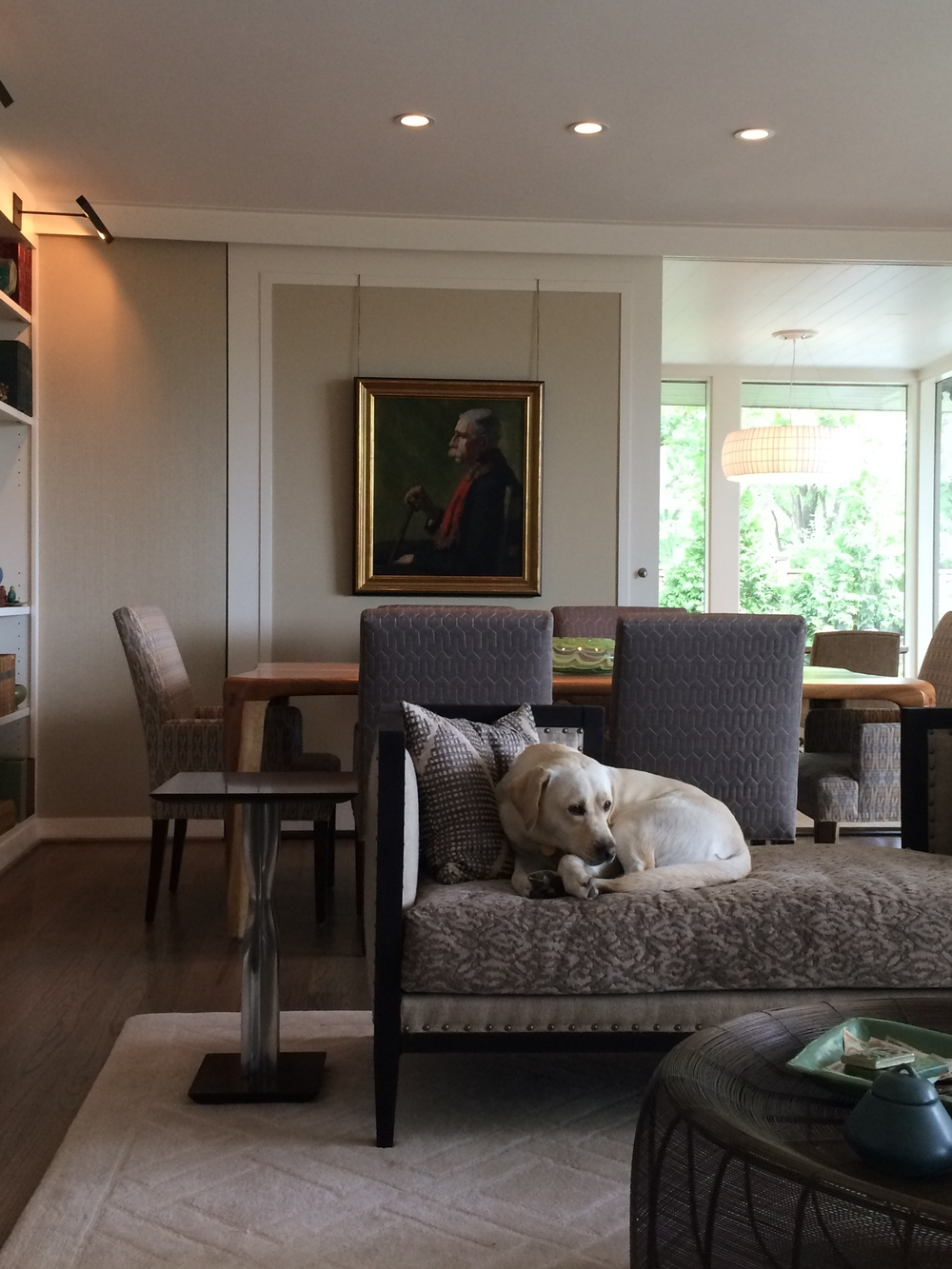When we meet with our clients, we employ our signature DIGSYou questionnaire to delve into not just aesthetic values, but also how they live. This decorating project included fabrics on all furniture that could withstand pet perching.