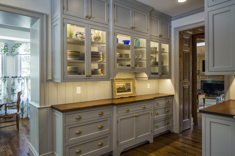 This butler's pantry is visible from the kitchen, dining room ad family room of our clients' home. That meant it needed to be both functional and fabulous. And it is.