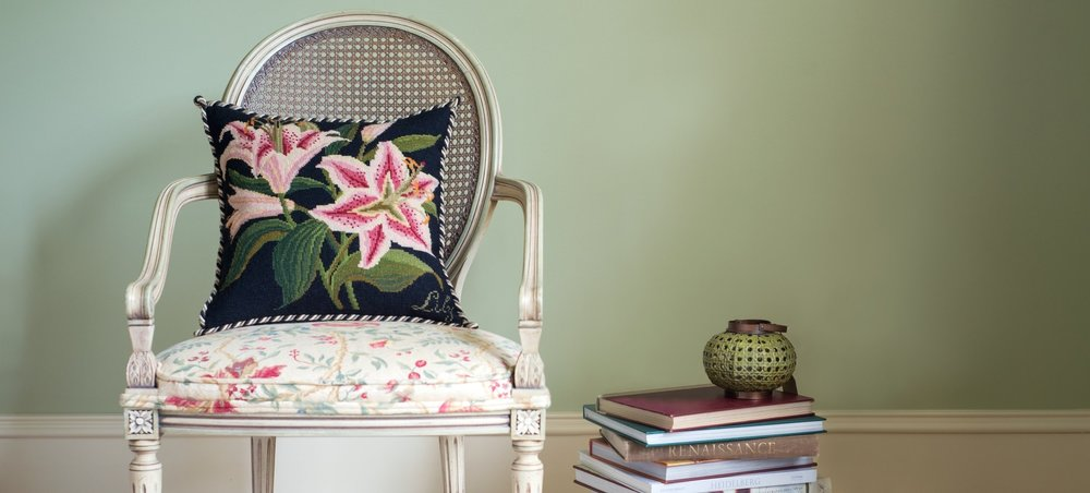 Botanical Lily Needlepoint Pillow