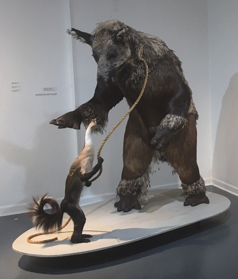 "Hog the Stoplight.  2011 Emu feathers, moose fur, pig fur, rope, goose feathers, wood, polyurethane  closed cell foam. 77"" x 37"" x 42""  Courtesy of the artist and Bernice Steinbaum Gallery $65,000.00"