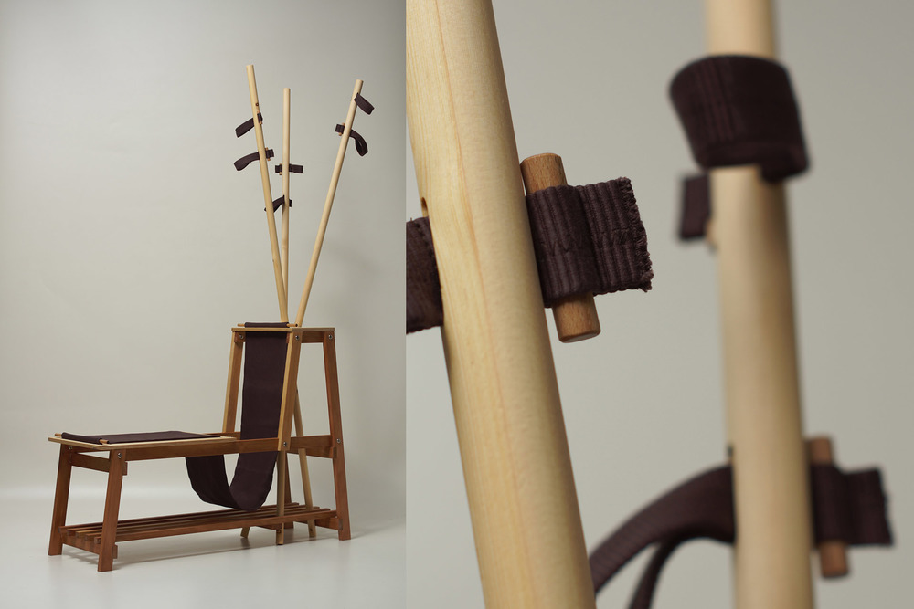 Bench with hanger by Ilona Dezső