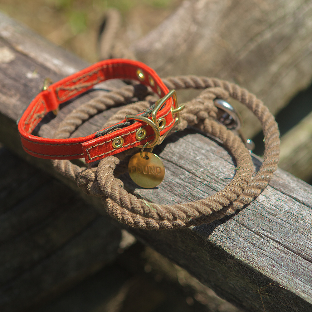 FOUND MY ANIMAL | Waxed Cotton Canvas Collar in Orange & Natural Rope Lead