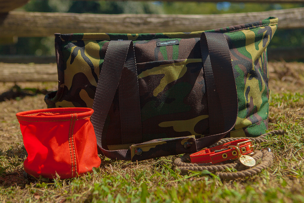 WAGWEAR | Cordura Camo Zipper Tote  +  FOUND MY ANIMAL | Travel Bowl, Waxed Cotton Canvas Collar, & Rope Lead