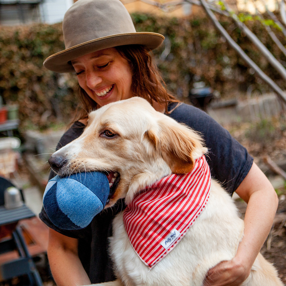 RECYCLED TOYS | Denim Ball Dog Toy  +  BILLY WOLF | Harper Bandana