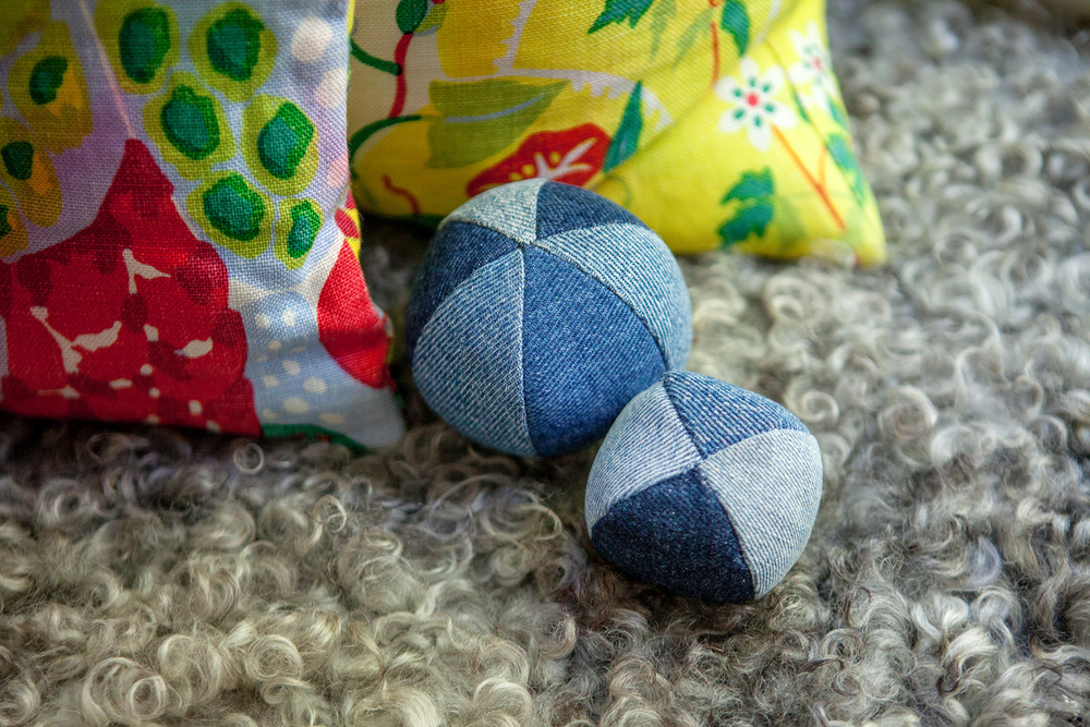 RECYCLED TOYS | Denim Ball Dog Toy