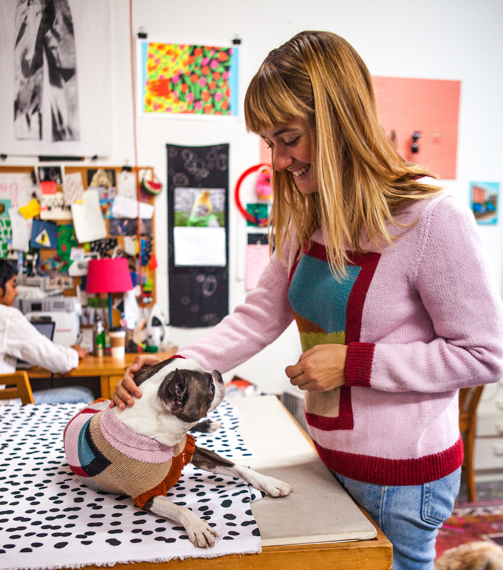 Snips in the FRAME DOG SWEATER + Ellen in the PINK COMBO FRAME SWEATER