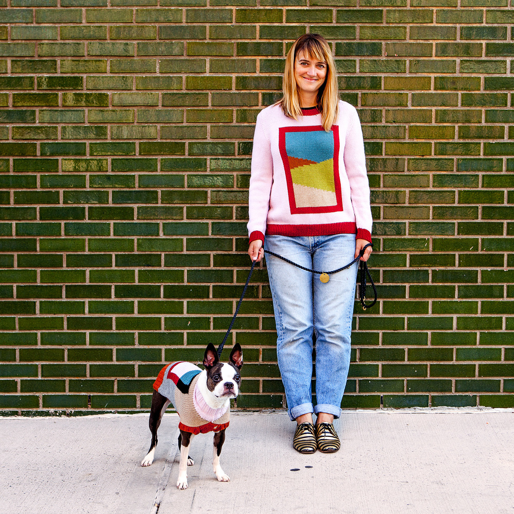 Snips in the FRAME DOG SWEATER + FOUND MY ANIMAL | Adjustable Rope Leash+ Ellen in the PINK COMBO FRAME SWEATER