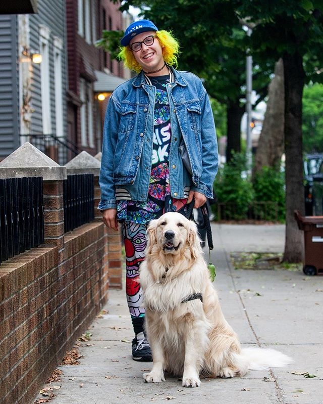 """Maxwell + Henry """"Henry is not my dog. I've been walking him for two years and he's the most amazing Golden Retriever. He loves skateboarders, so we go to the park every day to watch them skate."""" #humanandhound"""