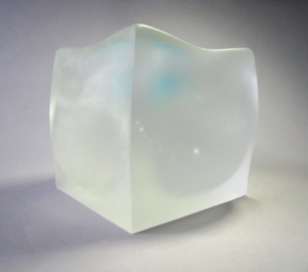 "Cast Glass, ""Bulging Cube"""