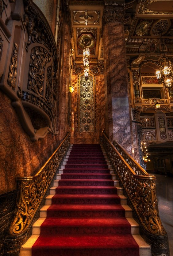Oriental Theater, Lobby Staircase    The textures in this shot are amazing. No wonder my grandfather's architecture was considered avant garde in the 1920s. It's probably avant garde now!