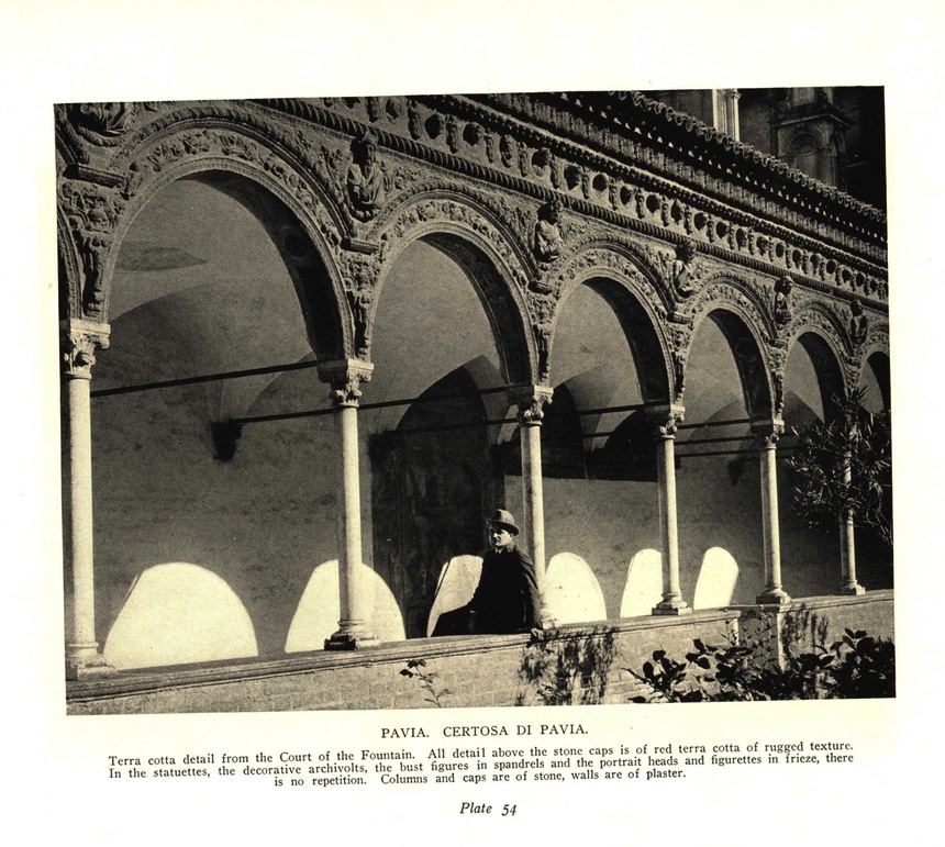 """My architect grandfather, Arthur F. Adams, in his natural environment. The funding to make this book, """"Terra Cotta of the Italian Renaissance,"""" was second prize in the Chicago Sun Times Building design contest. (My grandfather would have won, but a famous and established architect was allowed to enter after the deadline, and barely aced him out.) The photographer included him in at least a dozen plates."""