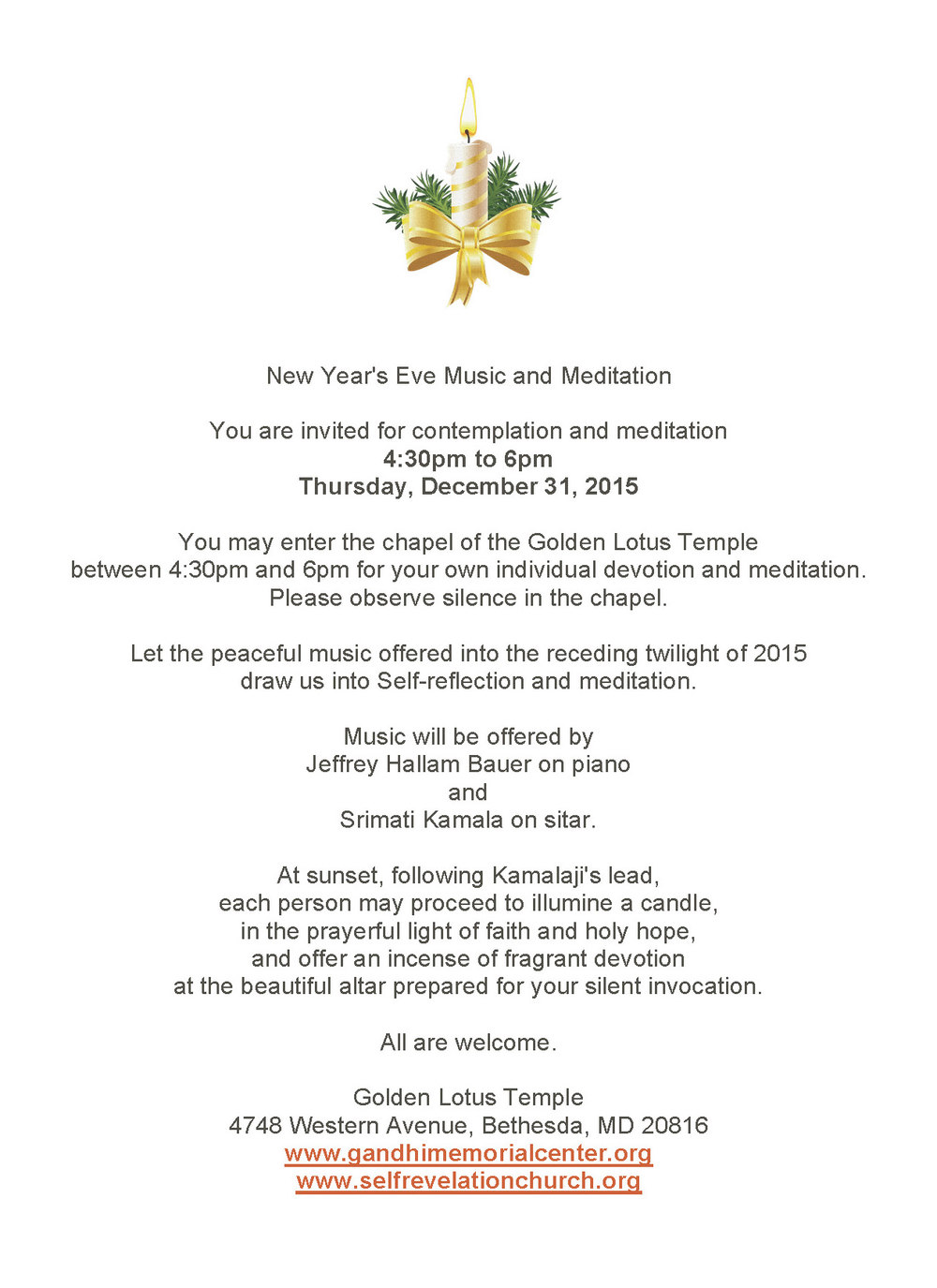 New Year's Eve Music And Meditation