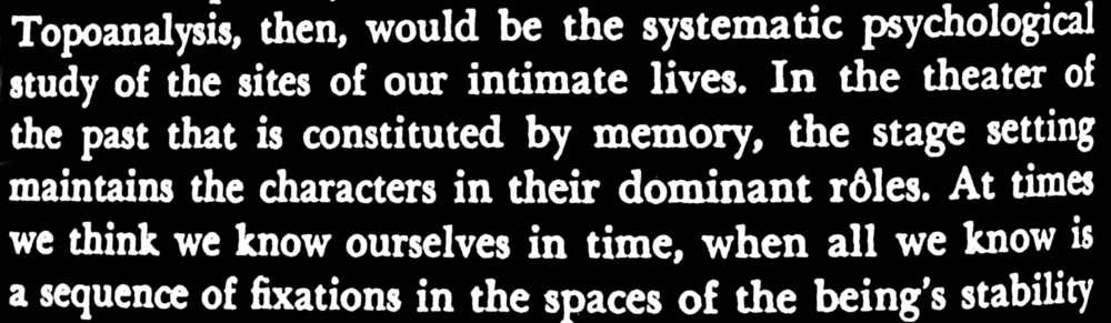 Excerpt from 'The poetics of space', 1958, Gaston Bachelard