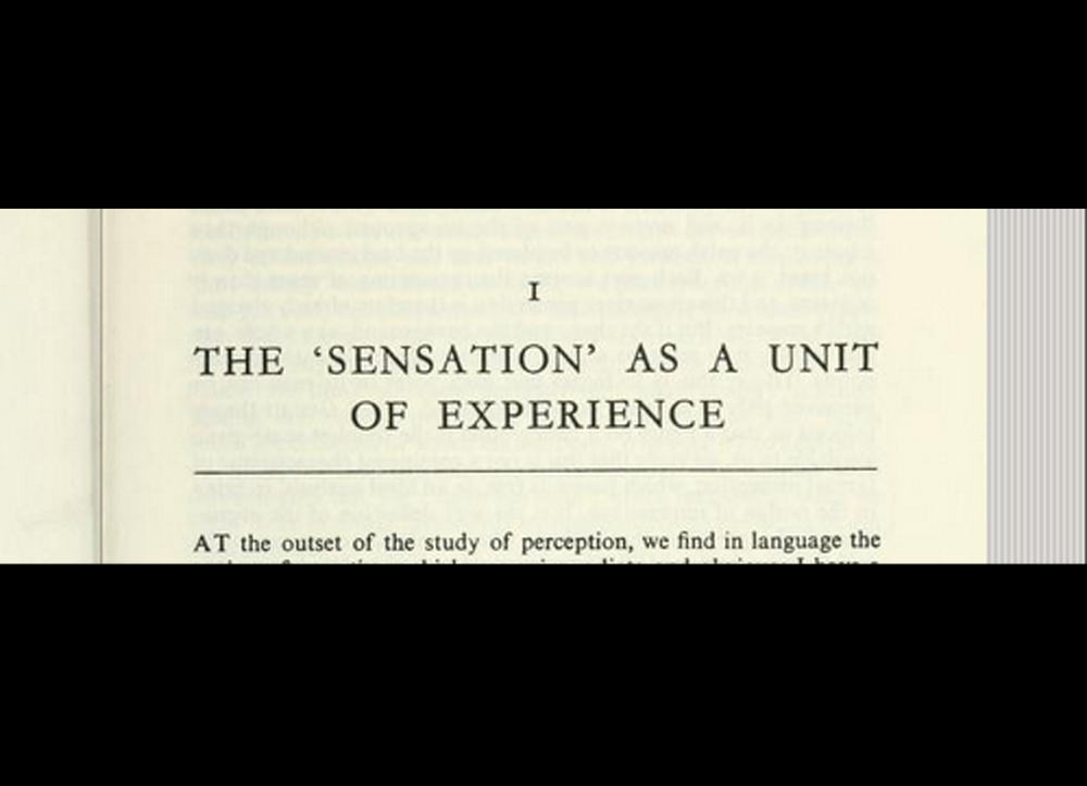 Excerpt from ' Phenomenology of perception', Merleau-Ponty