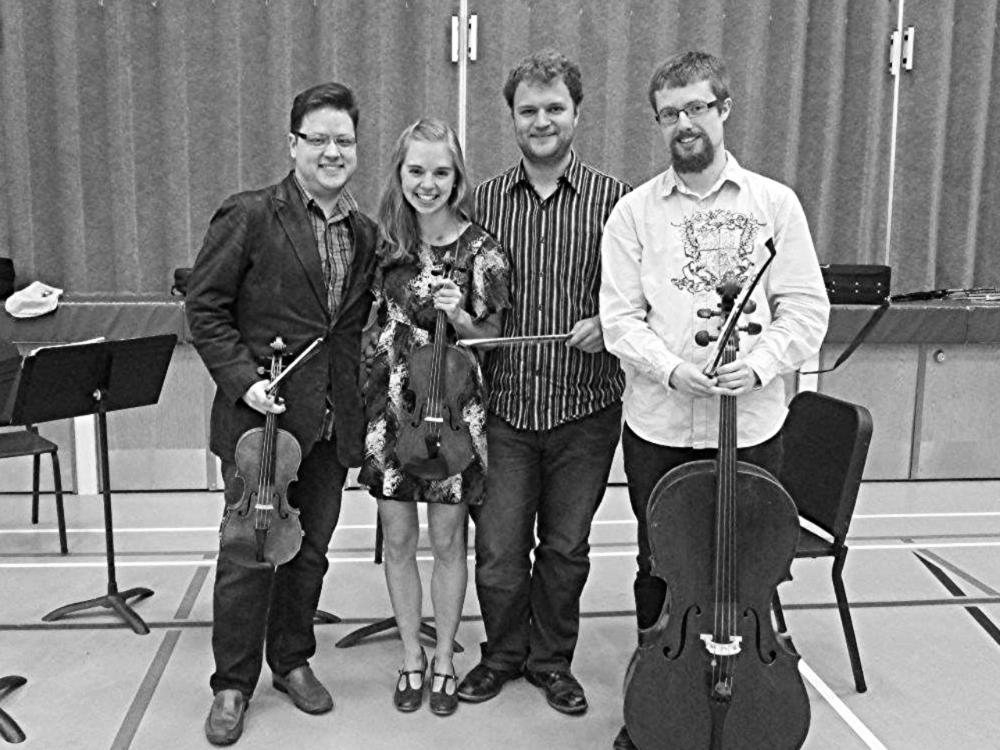 Horizon String Quartet at Balgonie Elementary School, 2014.