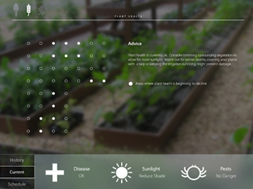 Early interface design showing plant health issues