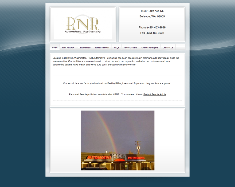 The old RNR Automotive Refinishing website