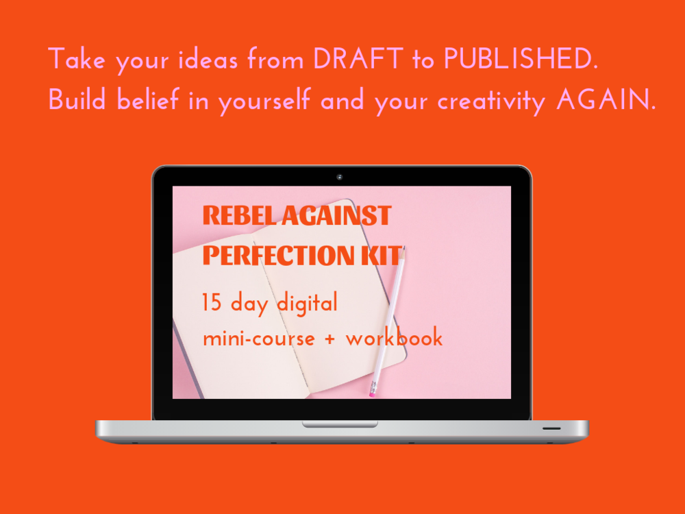 - A 15-day mini-course + kit teaching you how to build belief in yourself and your creativity again, so you can hit PUBLISH on your ideas without being lured by procrastination or feeling defeated by your inner critic (I imagine mine looks like Lady Tremaine from Cinderella).