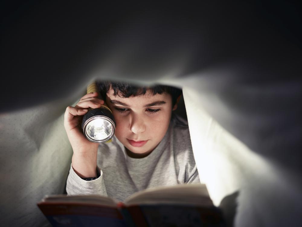 Boy Reading With Flashlight