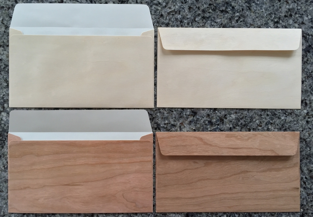 Cherry and Birch Wood Envelopes