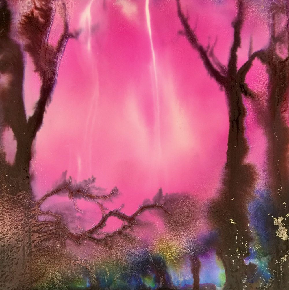 """Magenta Storm"" 32x32 A late summer lighting storm with vivid pink skies and Spanish moss covered trees."