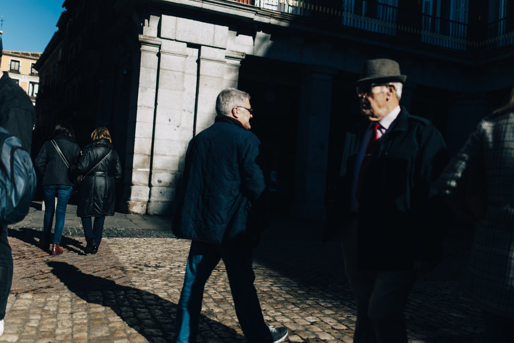 Gente en la Plaza Mayor, Madrid 2018