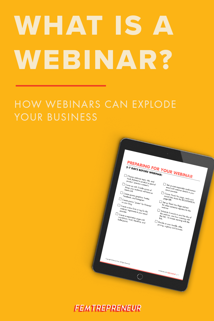 If you've been trying to grow your online business, you've probably heard people talking about doing webinars to increase your sales and build your audience online. I'm going to explain exactly what is a webinar and how they work. Click here to learn more: http://femtrepreneur.co/blog/what-is-a-webinar