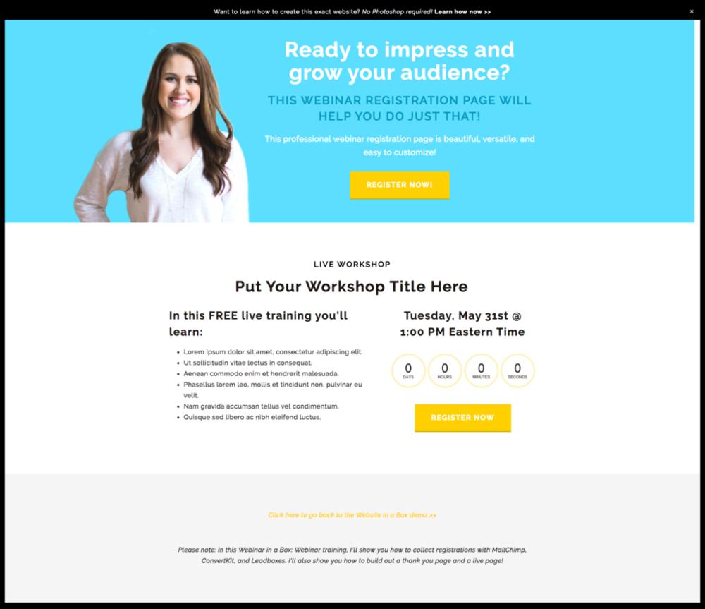 Webinar Templates website in a box