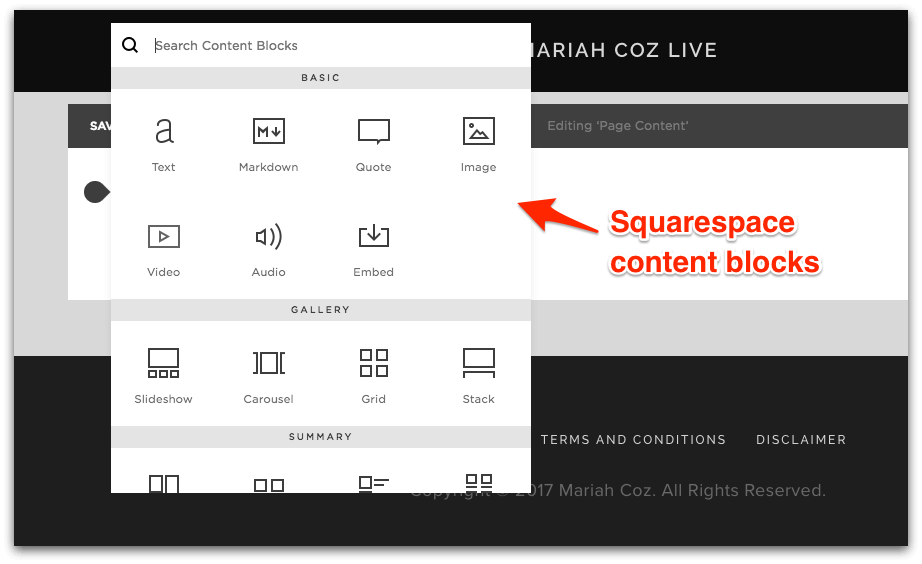 Squarespace Content Blocks