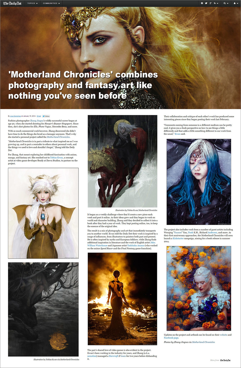 """'Motherland Chronicles' combines photography and fantasy art like nothing you've seen before"",  The Daily Dot,  15 January 2014"