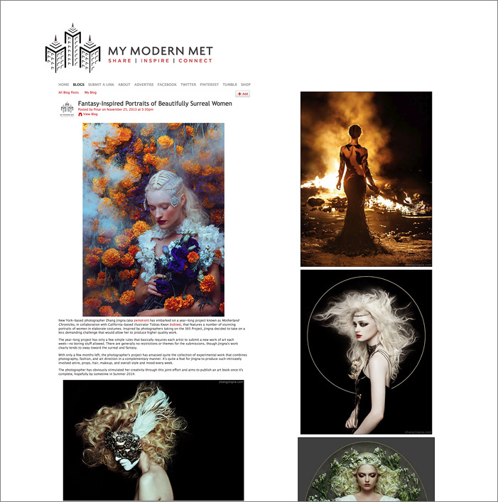 """Fantasy-Inspired Portraits of Beautifully Surreal Women"",  My Modern Met,  25 November 2013"