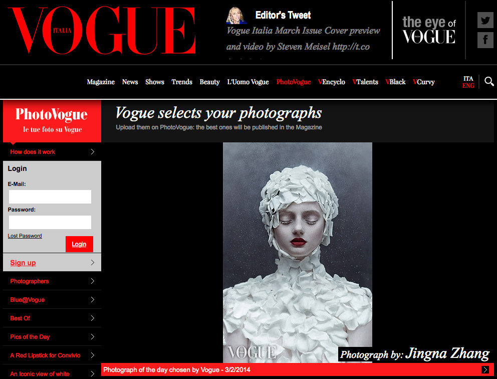 Picture of the Day,  Photo Vogue, Vogue Italia,  2 March 2014