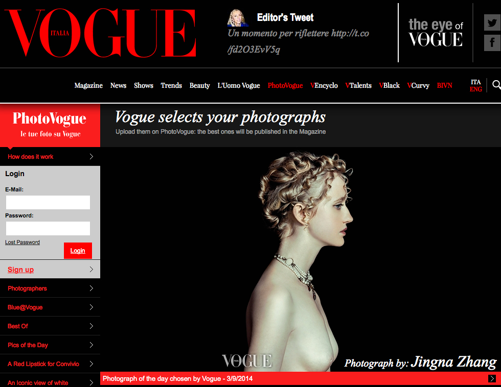 Picture of the Day,  Photo Vogue, Vogue Italia,  9 March 2014