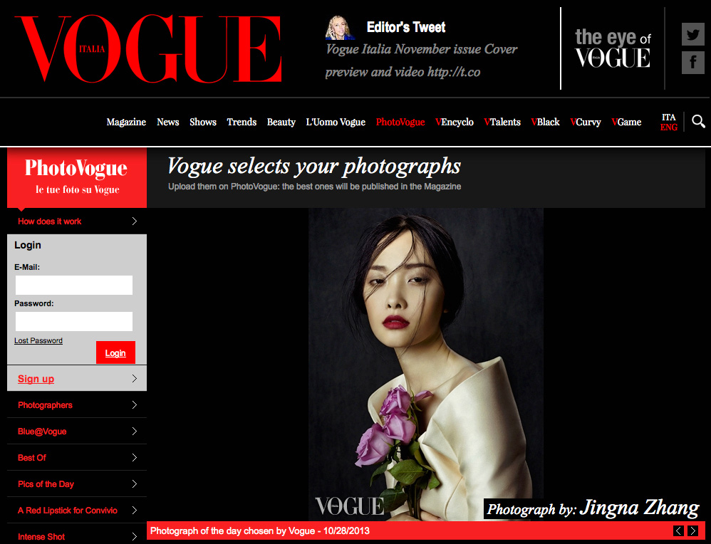 Picture of the Day,  Photo Vogue, Vogue Italia,  28 October 2013