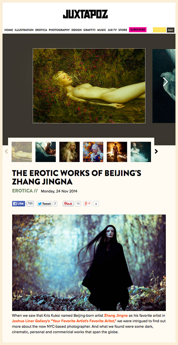 """The Erotic Works of Beijing's Zhang Jingna "", Juxtapoz Magazine , 24 Nov 2014"