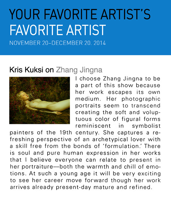 Kris Kuksi on Zhang Jingna,   Your Favorite Artist's Favorite Artist   exhibition, New York, December 2014.