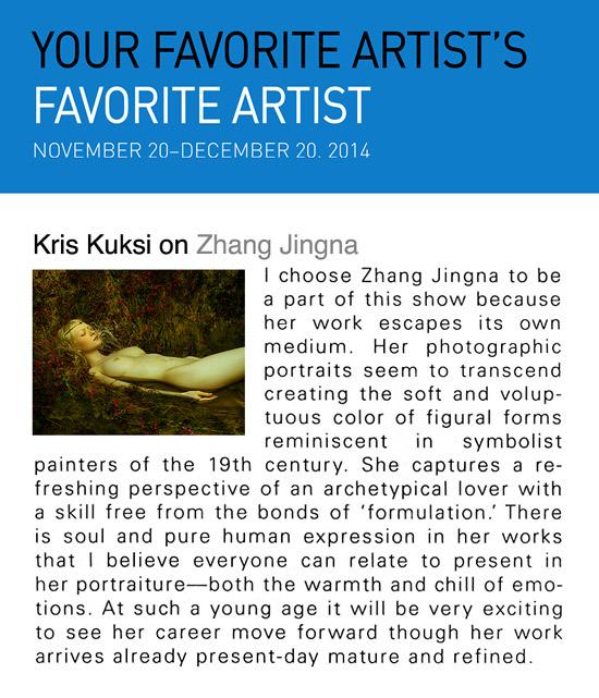 Kris Kuksi on Zhang Jingna,   Your Favorite Artist's Favorite Artist   exhibition, New York, December 2014.