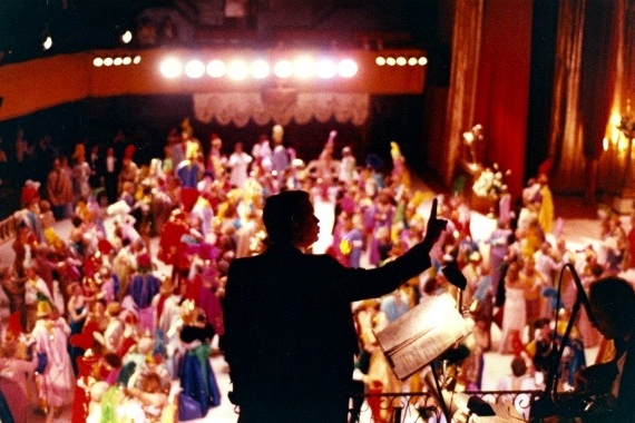 Jimmy Maxwell conducts a Mardi Gras Ball at the Municipal Auditorium