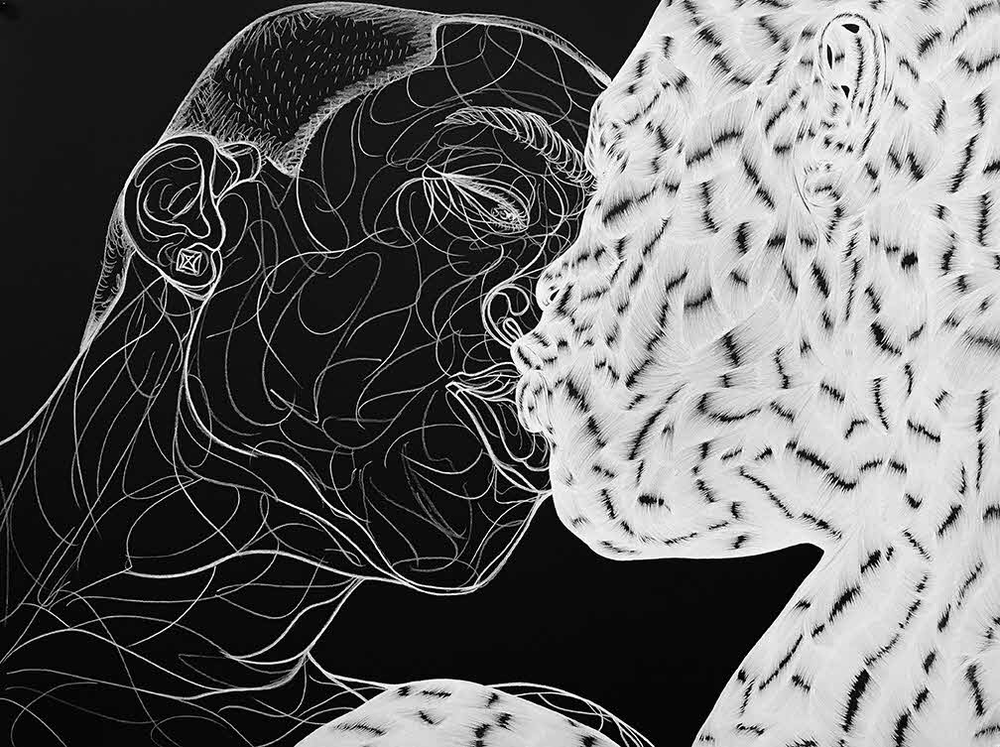 The Kiss (Ritual), 2016, Charcoal on paper. Courtesy of the Artist and Jack Shainman Gallery, New York
