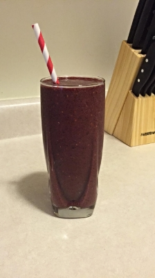 Berry spinach smoothie. Drank this before my workout.