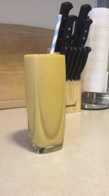 Post workout smoothie. Feel free to swap the order in which you drink the smoothies but the addition of the nut butter is great post workout.