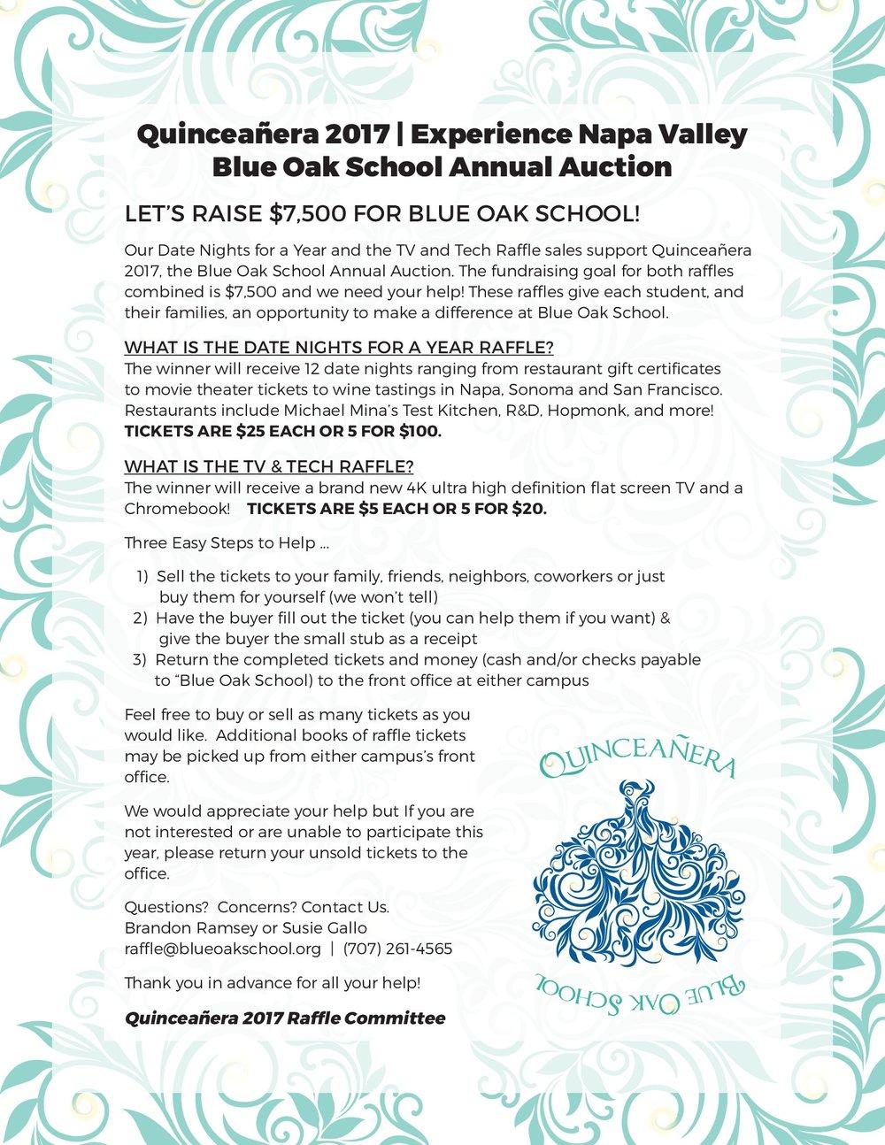 raffle tickets blue oak school