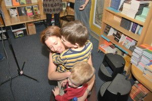 Post-reading hugs from my boys