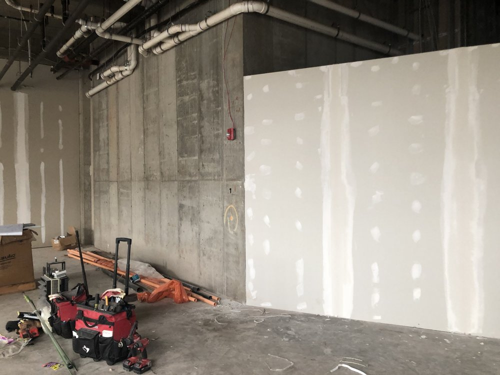 Construction - installing the partition wall