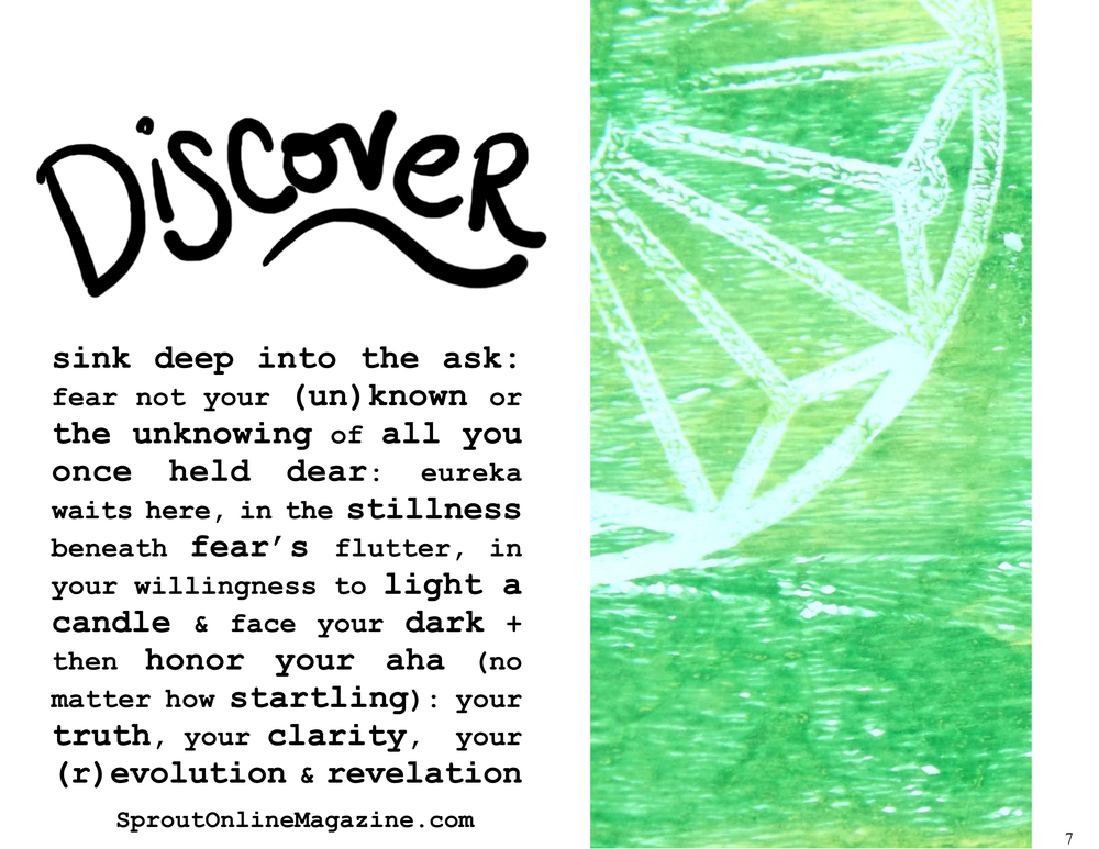 Here's a peek at one of Sprout: Discover's encouraging pages. What will be your revolution? Your revelation?