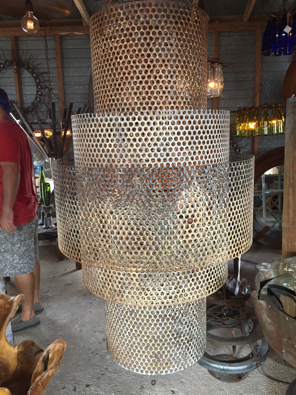 Huge welded metal chandelier