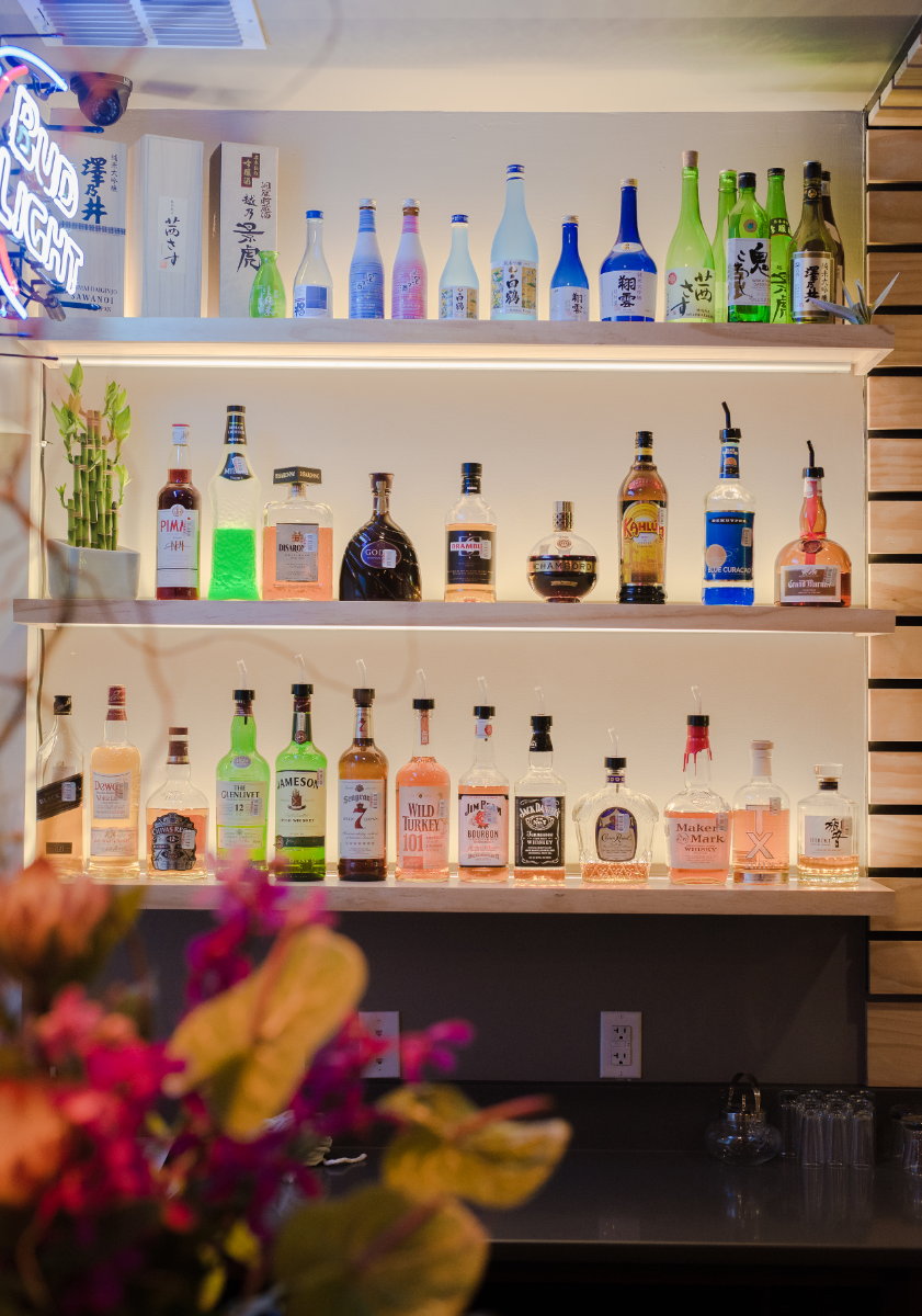 Illuminated bar shelves